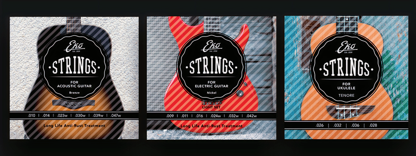 In addition to offering guitars with a distinctly Italian feel, EKO also offers a wide range of guitar string sets